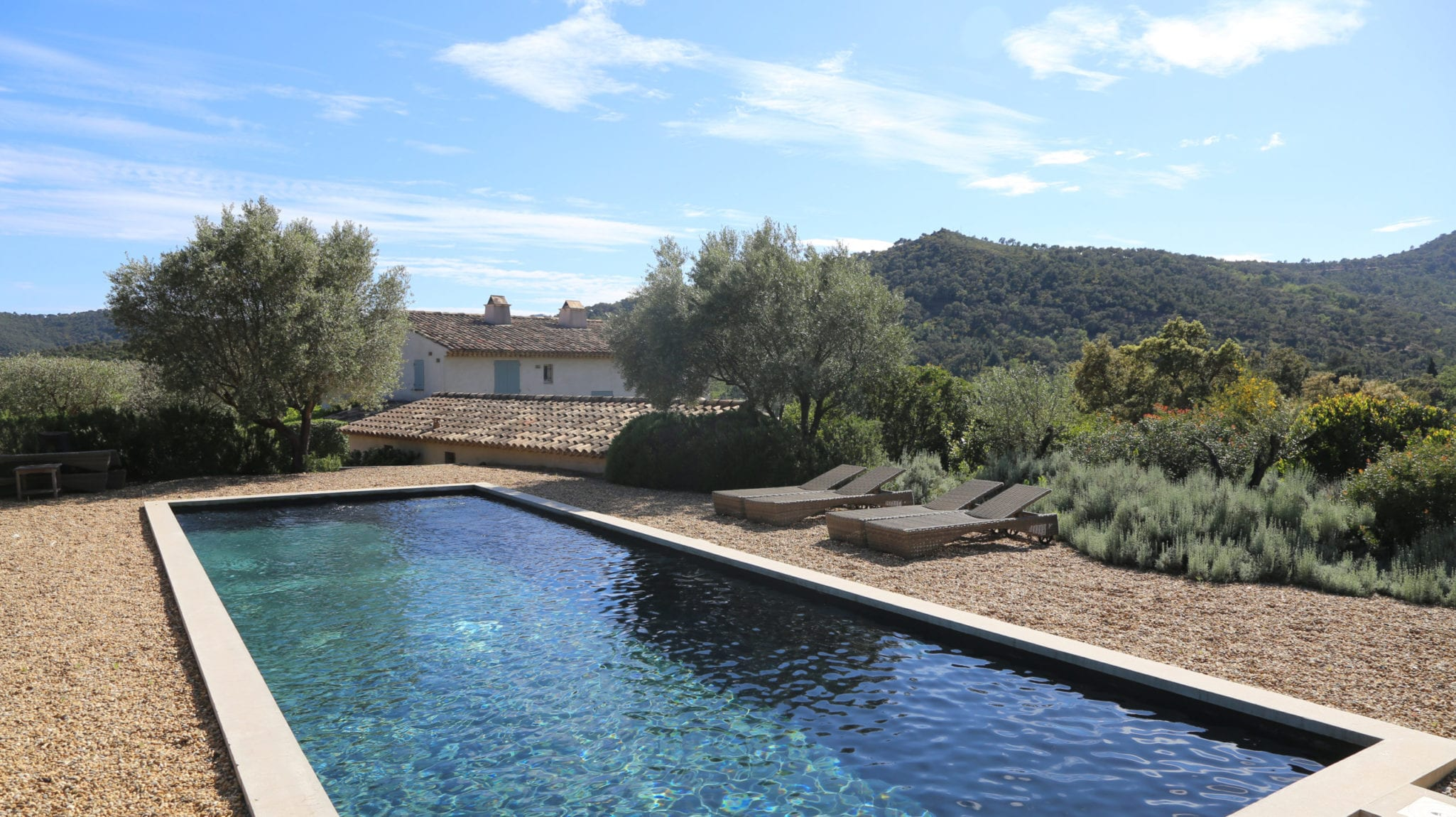Outdoor swimming pool in Provence, South of France.